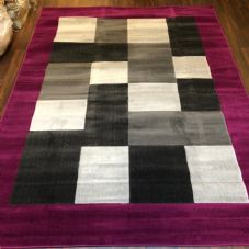 NEW MODERN BLOCK DESIGN RUGS PURPLE 180X240CM 8X6FT APPROX GREAT QUALITY MATS